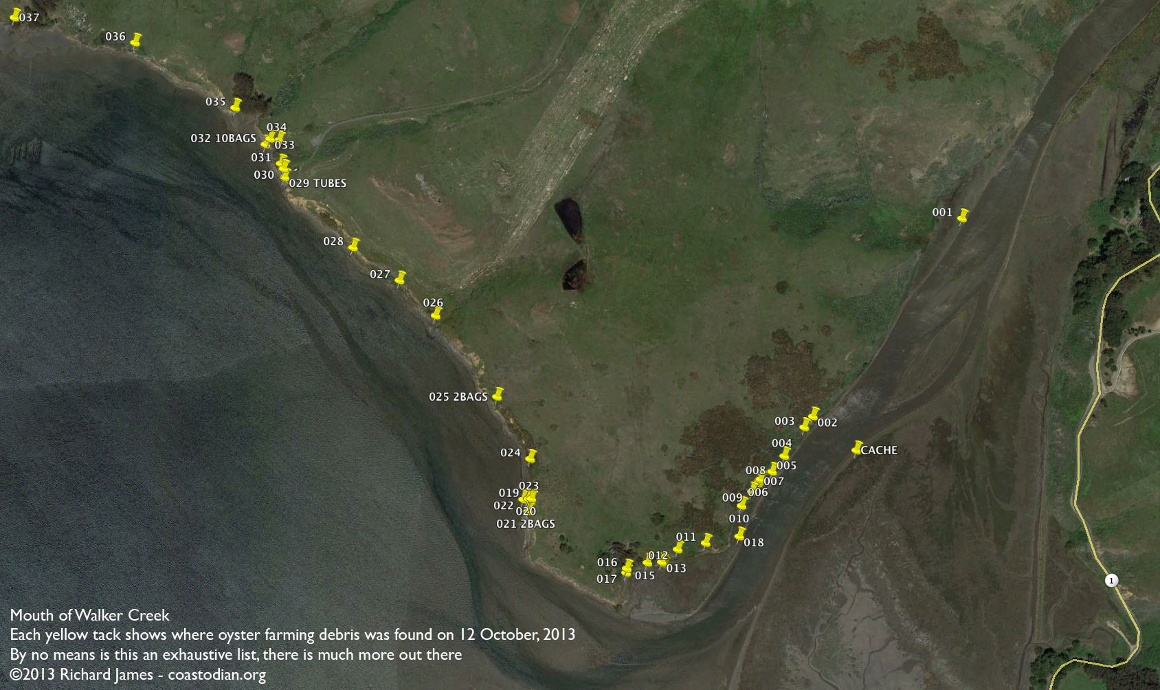 Map of Walker Creek mouth area showing oyster farming debris locations. Click for a larger image.