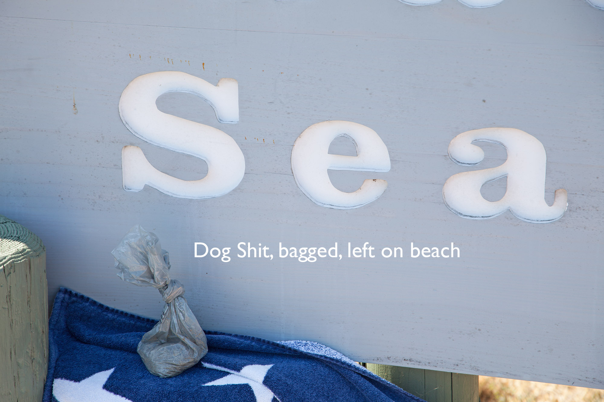 Dog shit, bagged by dog owner, left on beach for the rest of us to enjoy.