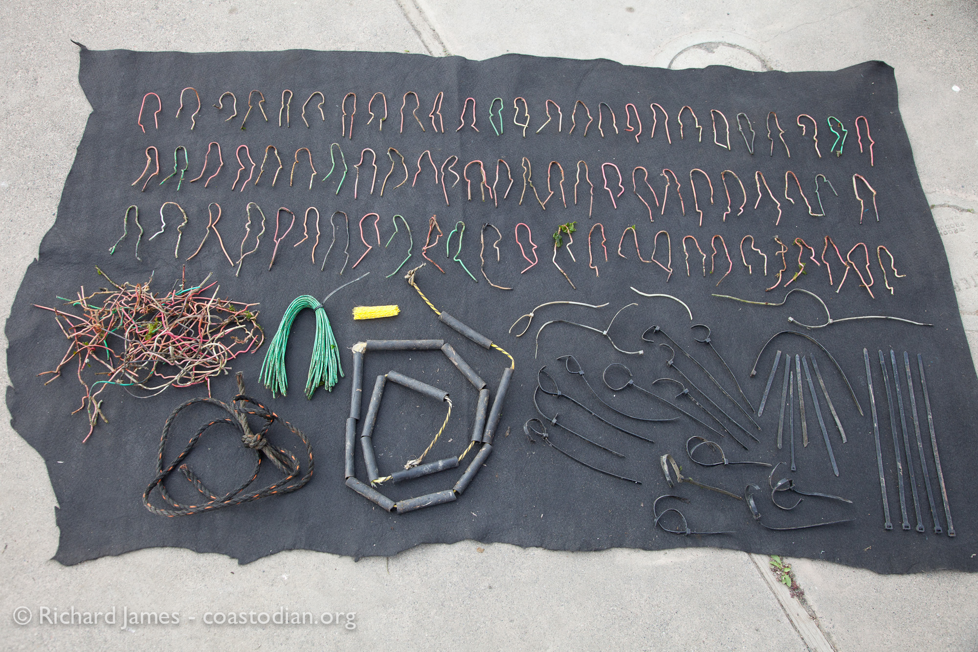 Alleged oyster litter collected on 10 May, 2015 along coast from Preston Point to Audubon Canyon Ranch parcel.  Plastic coated copper wire found under Point Reyes Oyster Company racks, large zip ties found on beach adjacent to Hog Island lease at Tom's Point. 154 abandoned oyster grow-out bags were also located, 41 of which hauled out.