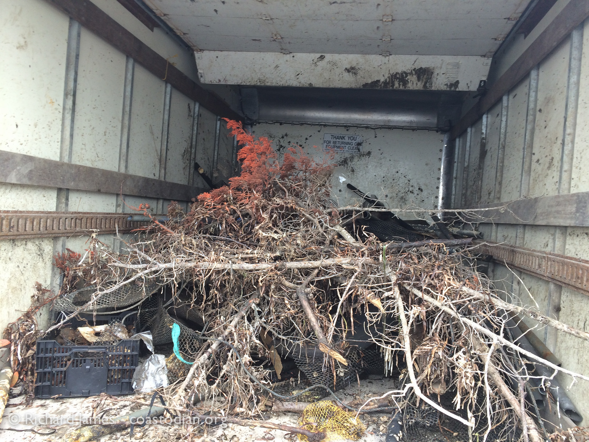 Truck full of Tomales Bay Oyster Company trash no longer creating an eyesore in the bay, nor a risk to wildlife.