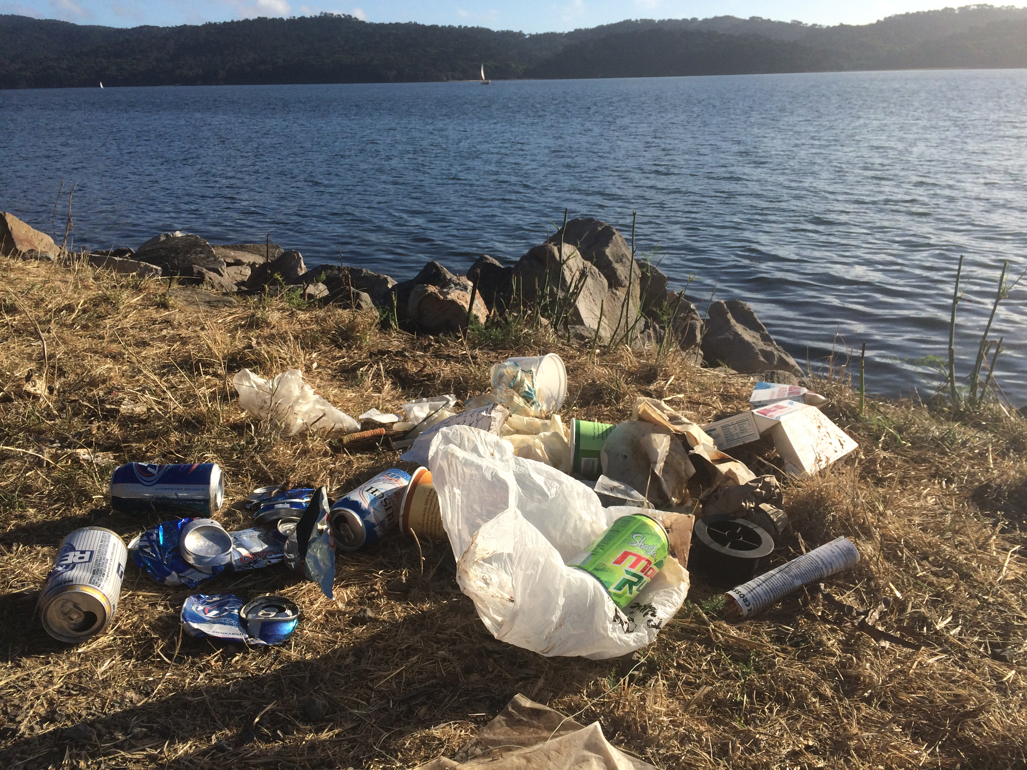 Garbage left along Tomales Bay by fishermen - just south of Tony's Seafood. ©Richard James - coastodian.org