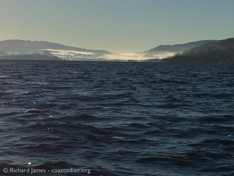 Tomales Bay - looking south. Please pardon iphone image on rocking boat. ©Richard James coastodian.org