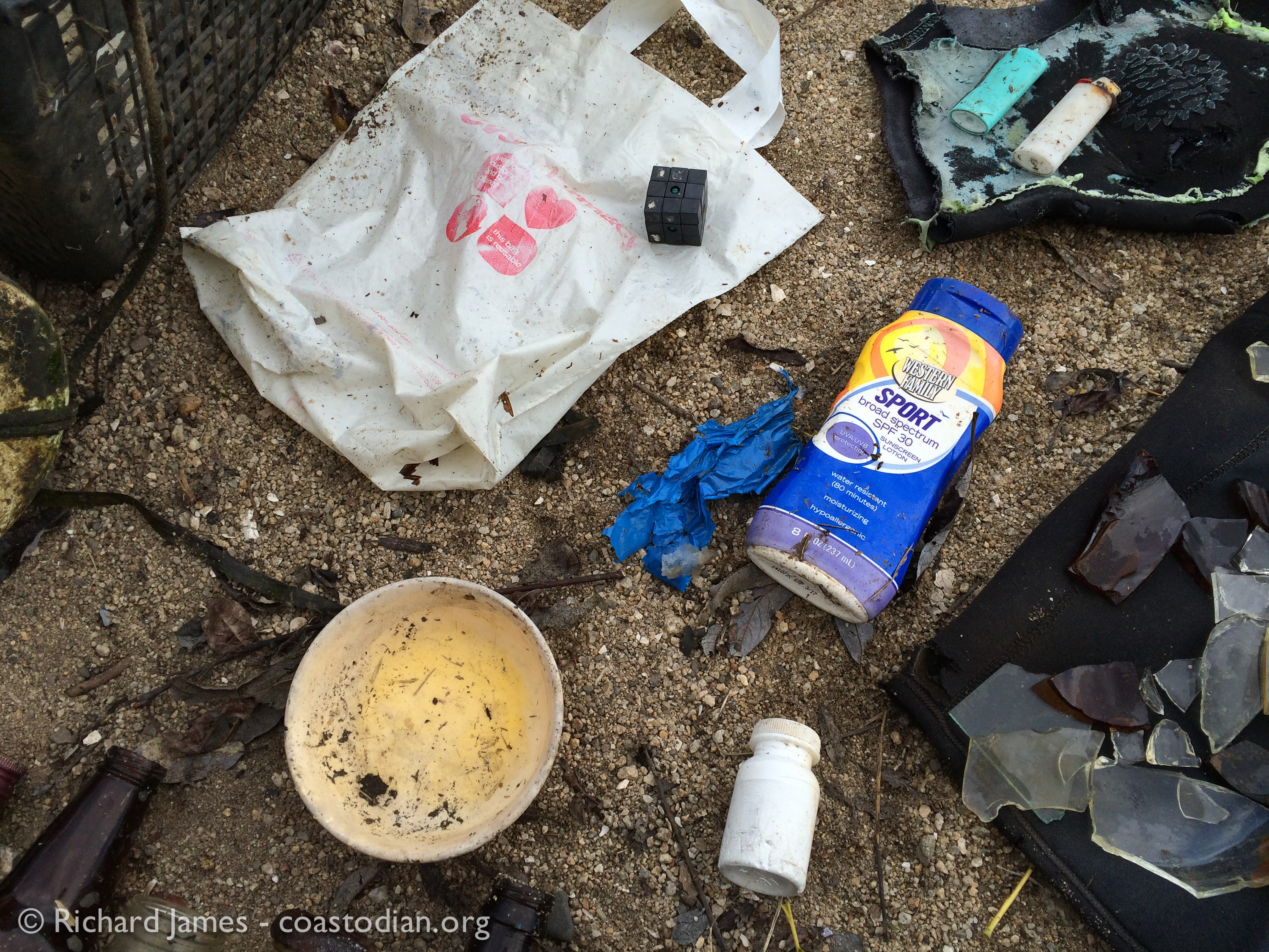 Drugstore shoppers and skin protectors litter in Tomales Bay ©Richard James coastodian.org