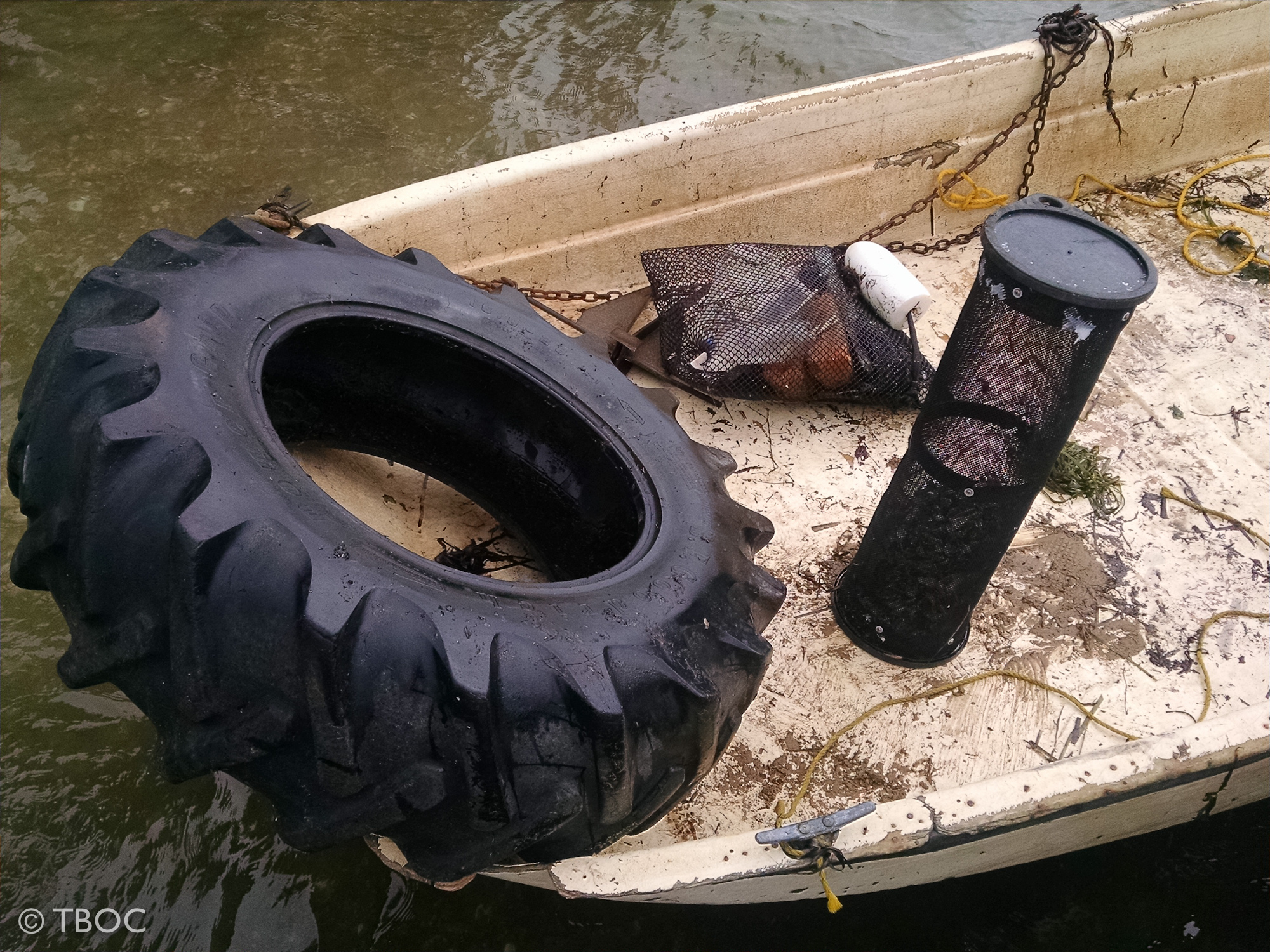 Tractor tire, lost oyster gear - all picked up by TBOC workers Dec. 2015.