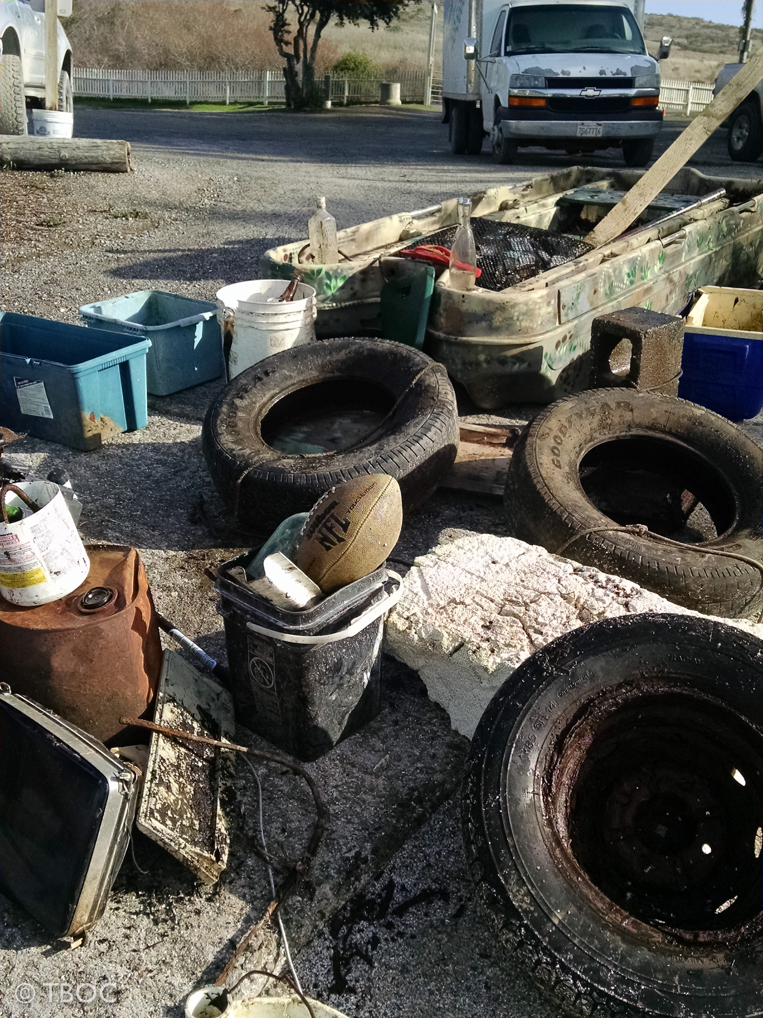 tires, foam football, plastic of all sorts - all picked up by TBOC workers Dec. 2015.