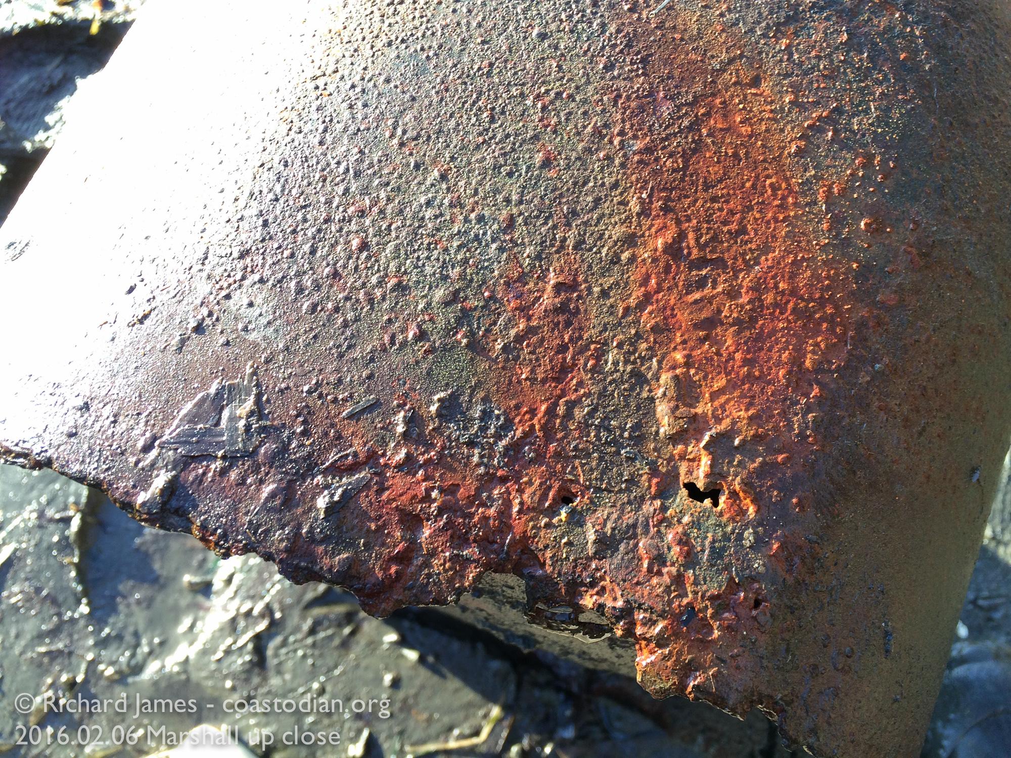 Capsized boat - 5 gallon gas tank, rusting in Tomales Bay ©Richard James - coastodian.org